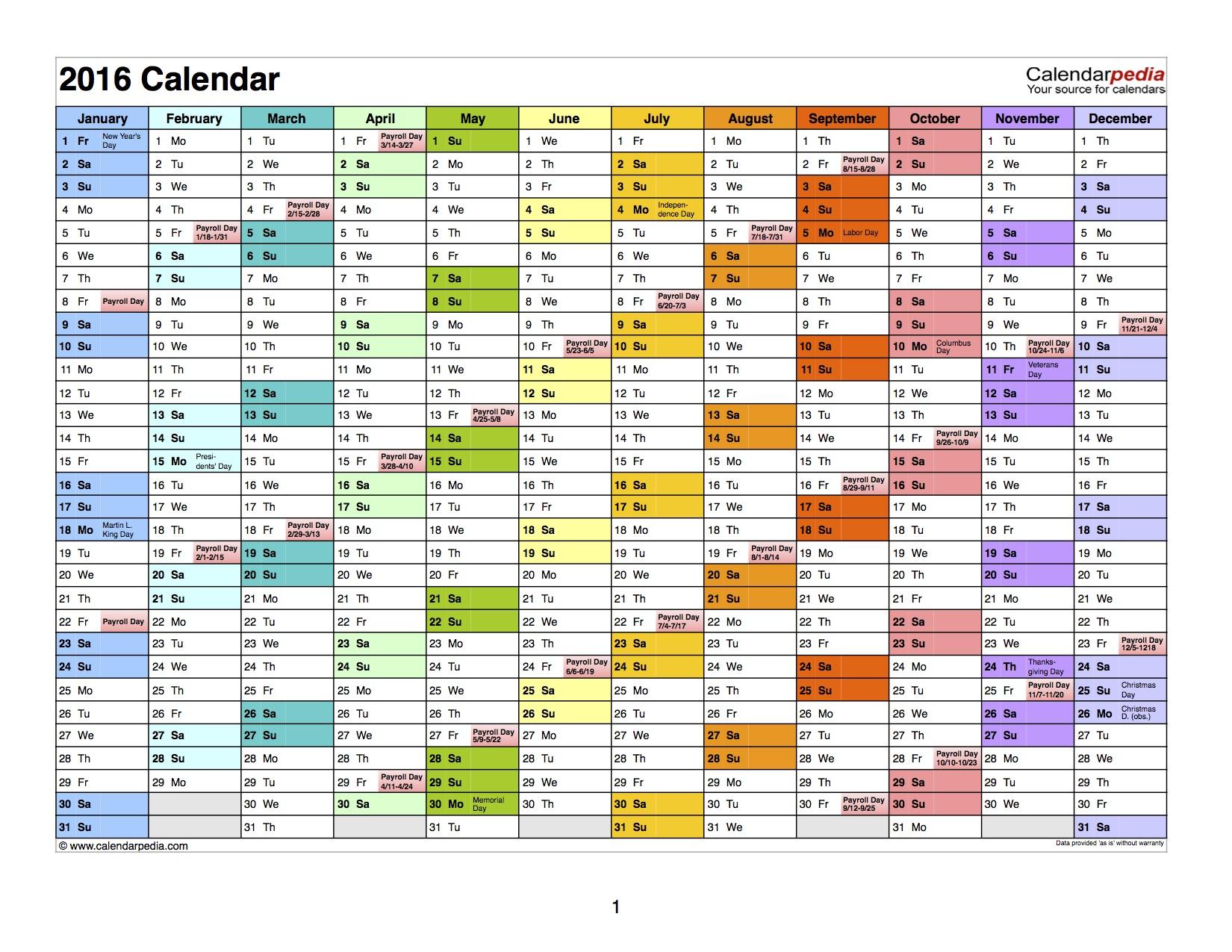 2016 Payroll Calendar